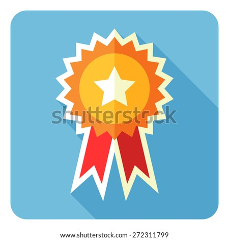 Vector Award Icon. Ribbon rosette. - stock vector