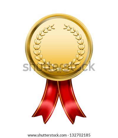 Vector Award Medal Rosette Label isolated on white background - stock vector