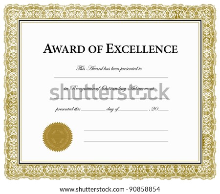 Vector Award of Excellence Certificate. Pieces are separate and easy to edit. - stock vector