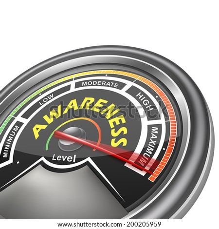 vector awareness conceptual meter indicator isolated on white background - stock vector