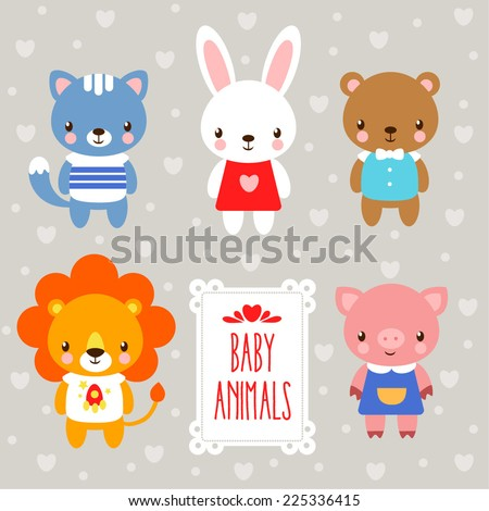 Vector baby animals. - stock vector