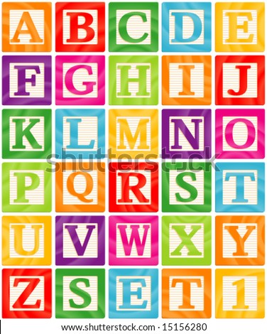 Vector Baby Blocks Set 1 of 3 - Capital Letters Alphabet - stock vector