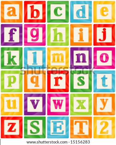 Vector Baby Blocks Set 2 of 3 - Small Letters Alphabet - stock vector