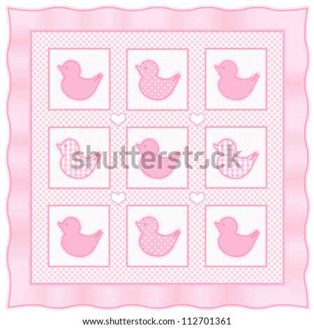 vector - Baby Ducks Quilt.  Vintage nursery design pattern in pastel pink and white check gingham, polka dots, satin ribbon frame border.  EPS8 compatible. - stock vector