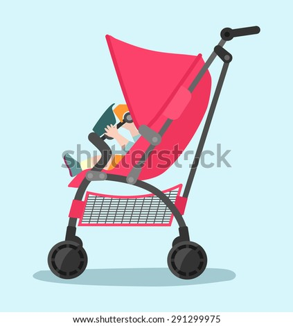 Vector baby flat illustration - stock vector