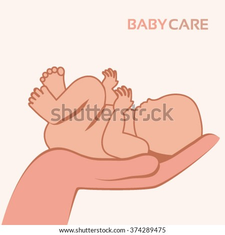 Vector baby held carefully in a protective and safe hand