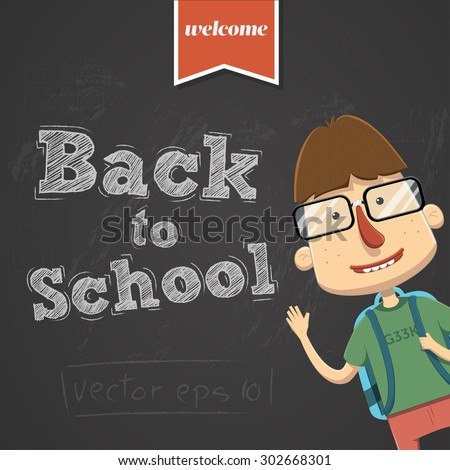 Vector back to school background with character - stock vector