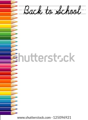 vector - Back to School background with colored pencils.  Copy space for posters, announcements, stationery, education, daycare, preschool, scrapbook projects. Isolated on white. EPS8 compatible. - stock vector