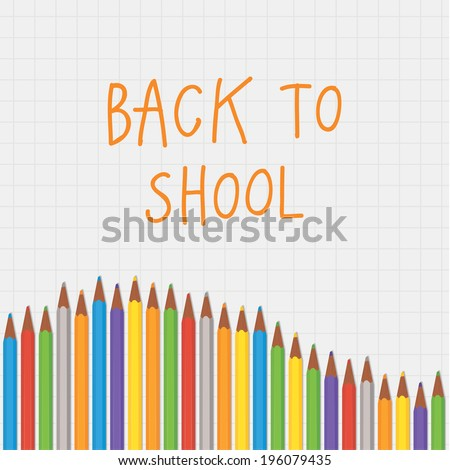 Vector back to school crayon composition. Square decorative banner with place for your content. Thematic background for back to school promotion. - stock vector