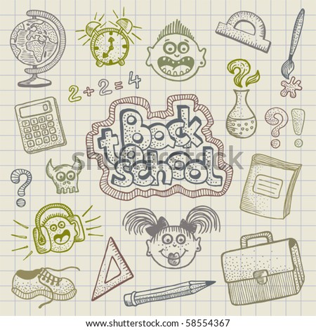 Vector Back to School doodles - stock vector