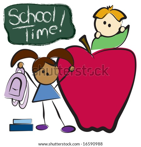 Vector back to school graphic with boy, girl, and red apple - stock vector
