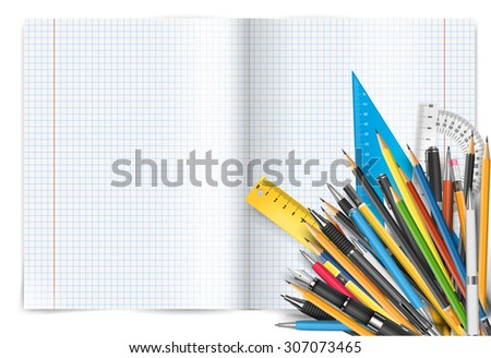 Vector back to school theme. Exercise book with math spread and twisted page, pens and pencils. - stock vector