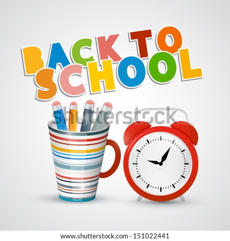Vector Back to School Theme With Alam Clock and Pencils in the Cup - stock vector
