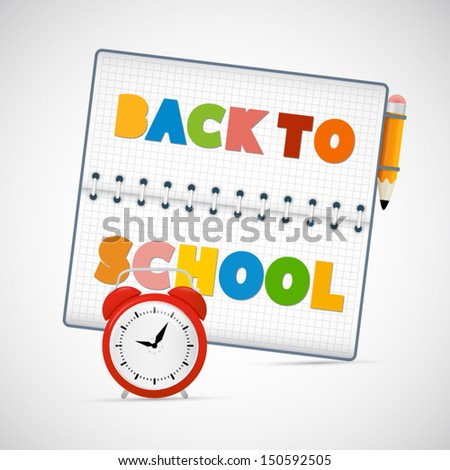 Vector Back to School Theme With Alarm Clock and Pencil  - stock vector