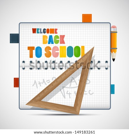 Vector Back to School Theme With Notebook, Ruler and Pencil - stock vector
