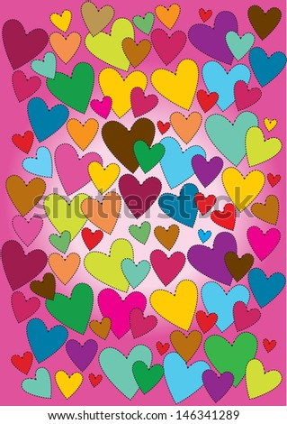 vector backdrop design with colorful patchwork hearts in cartoon style isolated on lighting pink background