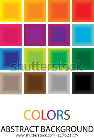 vector backdrop design with squares in spectrum colors and place for your text isolated on white background - stock vector