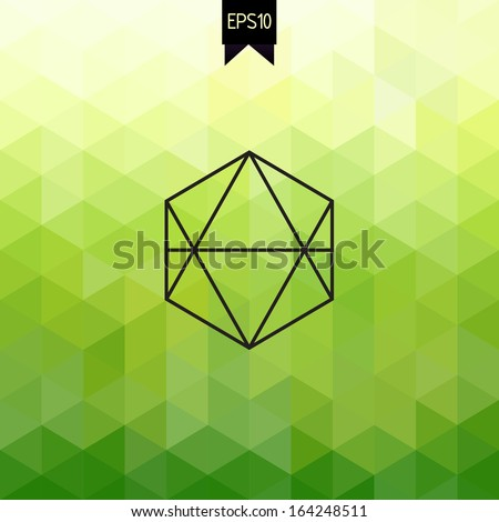 Vector backdrop with badge. Hexagon. Geometric. Triangle. Fresh green background. - stock vector