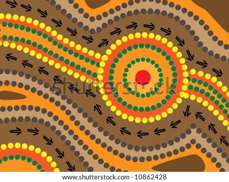 Vector background aboriginal style symbolic landscape. - stock vector