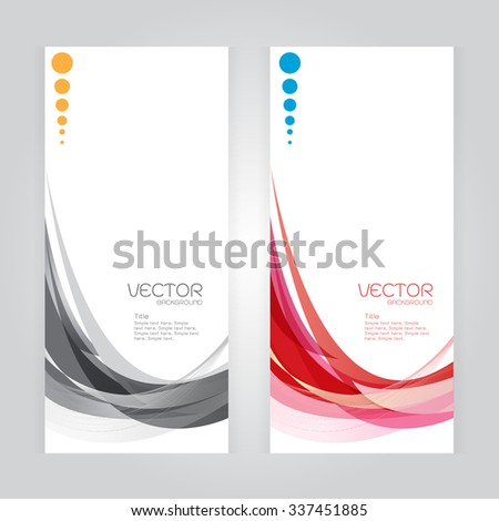 vector background Abstract header colorful red gray wave whit vector design on gray background - stock vector