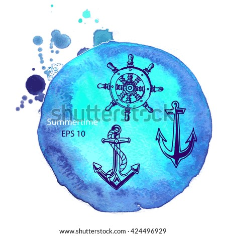 Vector background - anchor, helm. Illustration sketch - summertime.