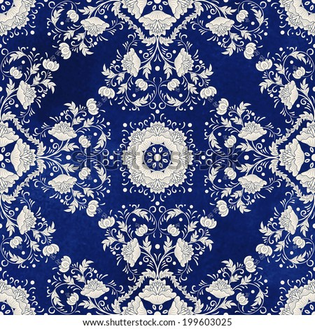Vector background. Beautiful floral square pattern. Imitation of chinese porcelain painting. Blue watercolor background. Hand drawing. - stock vector