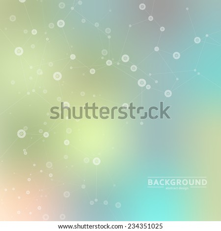 Vector background blur with a molecular structure.