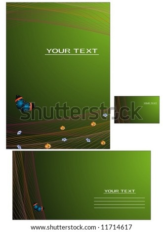 Vector background, business card, government letter-3 - stock vector
