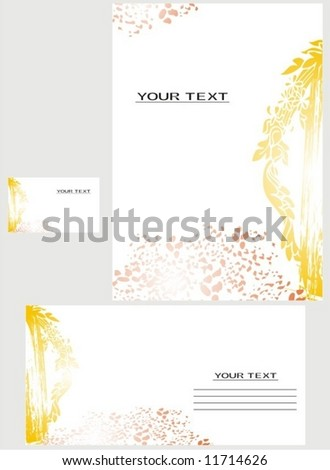 Vector background, business card, government letter-4 - stock vector