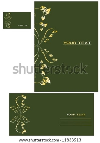 Vector background, business card, letter-3 - stock vector