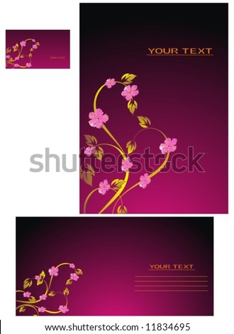 Vector background, business card, letter-10 - stock vector