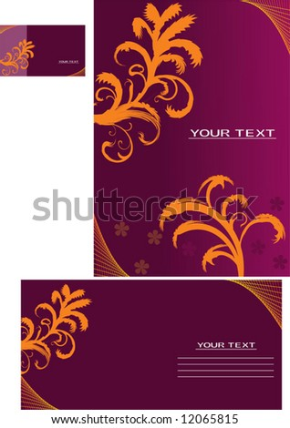 Vector background, business card, letter-12 - stock vector