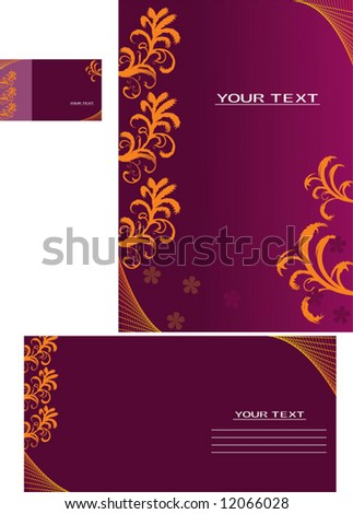 Vector background, business card, letter-14 - stock vector