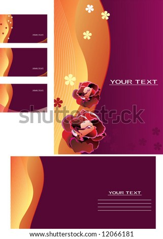 Vector background, business card, letter-15 - stock vector
