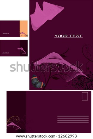 Vector background, business card, letter - stock vector
