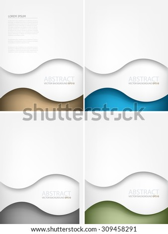 Vector background curve line wave earth tone color set element overlap paper layer line with space for text and message brochure and artwork design - stock vector