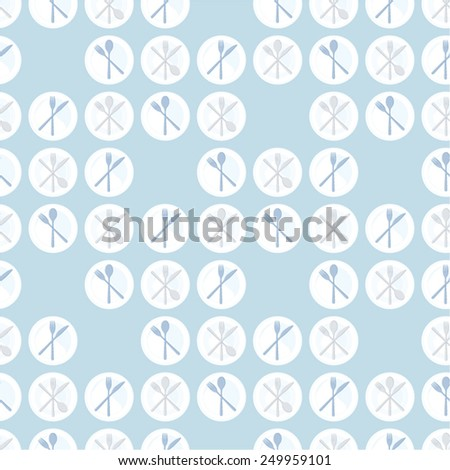 Vector background decorated with plates and cutlery - stock vector