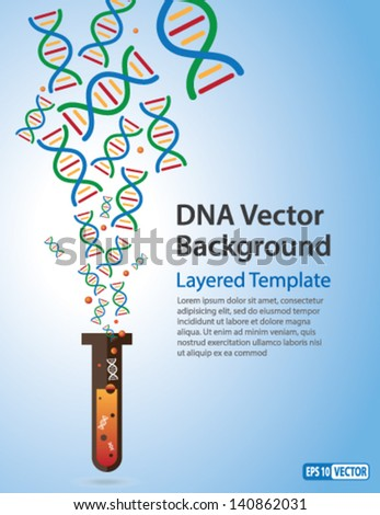 Vector Background - DNA Strands coming out of a Test Tube. Creative Concept  for showing Biotechnology,Innovation, Invention, Bio-Science, Clone and many other ideas. - stock vector