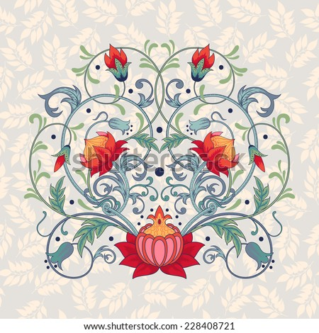 Vector background.  Element beautiful fantastic floral pattern. Seamless delicate ornament. - stock vector