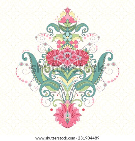 Vector background. Element beautiful oriental floral pattern. Seamless delicate ornament. Delicate green and pink. - stock vector