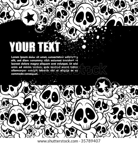 Vector background filled with skulls. There is a place for your text. - stock vector