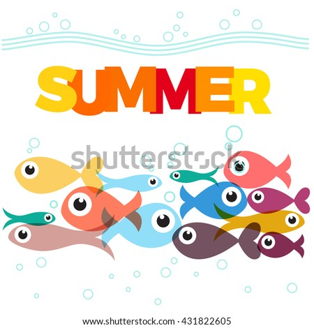 Vector background fish and sea with text, summer and diving concept
