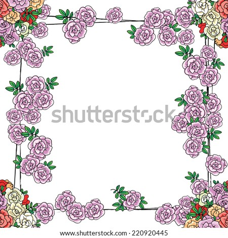 "Vector background for card with flower border, ""Happy birthday"" theme, in vintage style - stock vector"