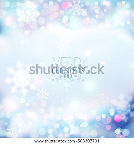 Vector background for Christmas and New Year. Bright, festive blue background with blur and snowflakes