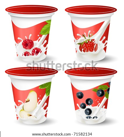 Vector. Background for design of packing yogurt with photo-realistic vector of berries. - stock vector