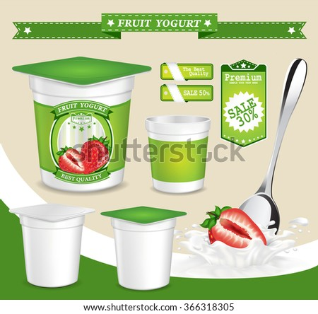 Vector. Background for design of packing yogurt with photo-realistic vector of Fruit. - stock vector