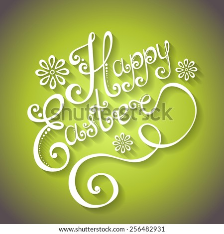 Vector Background for Easter, Holiday Lettering. Hand Drawing Patterned Design - stock vector