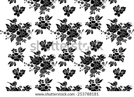 Vector background for fabric. Lined beautiful black flowers.