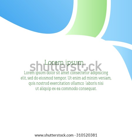 Vector background for flyer, blank, card, banner, invitation, brochure cover design template.  Blue and green abstract background. - stock vector