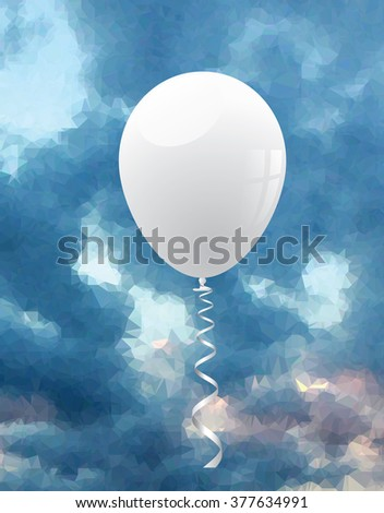 vector background for holidays or birthday with blank white balloon like symbol of peace on cloudy low poly sky - stock vector